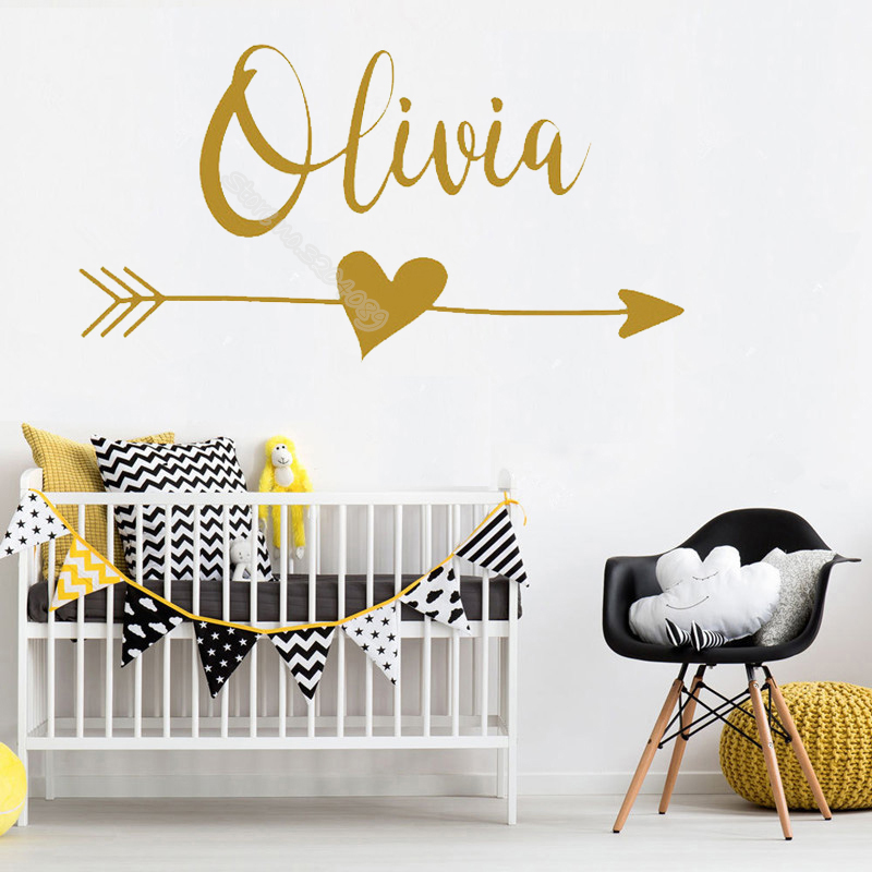 Arrow Heart Bohemia Wall Sticker Custom Name tribe
