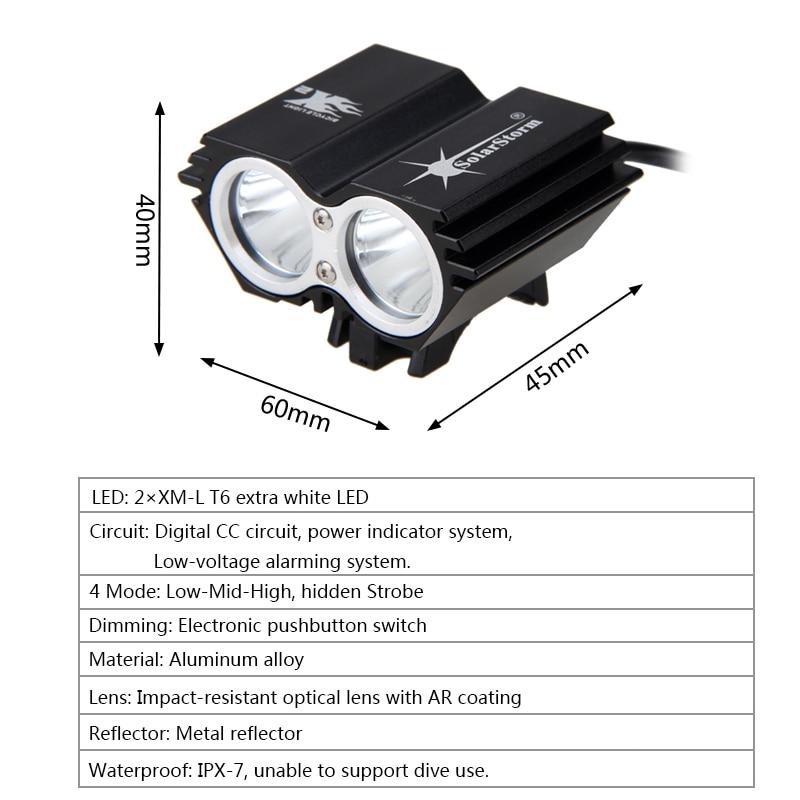 7000Lumens 2x XM-L T6 LED Velosiped İşıqları Velosiped Yüngül - Velosiped sürün - Fotoqrafiya 3