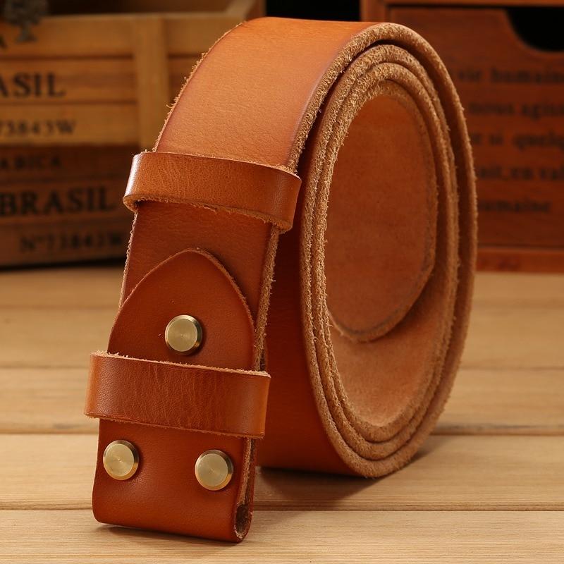 Cinturón de cuero sin oro liso hebilla para hombre cinturones de lujo vaqueros marrón encuentro marca famosa hebilla 3,8 cm de alto calidad