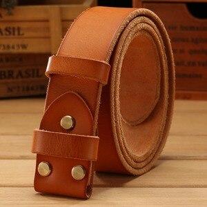 Image 1 - Gürtel leder ohne gold glatte schnalle für herren gürtel luxus cowboys kamel braun spiel berühmte marke schnalle 3,8 cm hohe qualität