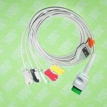 Compatível com Spacelab 17pin 90496,90369 e 90367 Máquina o one-piece 5 chumbo cabo ECG e clipe leadwire, IEC ou AHA.
