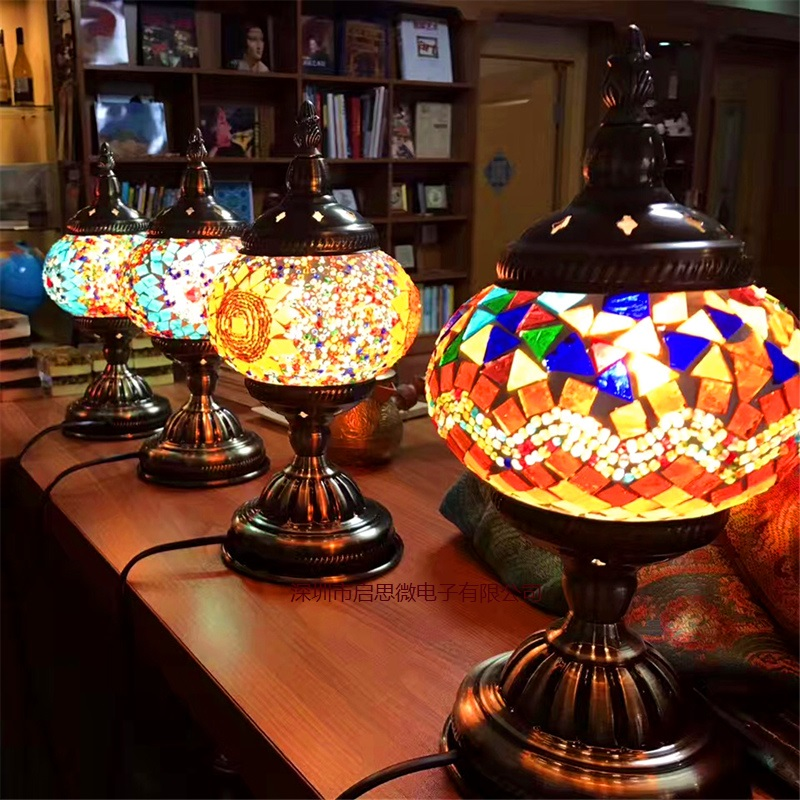 2016 Newest E14 Hand inlaid glass mosaic bedroom living room decorative Table Lamps of Mediterranean style