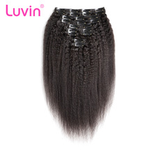 Luvin Kinky Straight Clip In Hair Human Extensions 100% Brazilian Remy Hair For Women 140G 10 Pieces/Lot Shipping Free