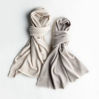 Thick natural curled cashmere knitted scarves / shawls
