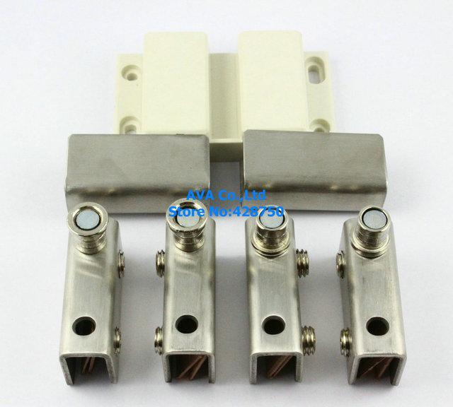 Presione abierto del doble puerta cristal pivote bisagra Set Clamp Clip pestillo cierre magnético