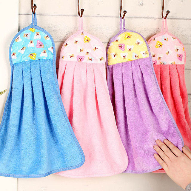 candy color soft microfiber kitchen hand towel folding hanging bathroom towel kitchen towel free shipping to - Kitchen Hand Towels