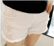 Maternity Denim Shorts Fashion Jeans Short Maternity Shorts Summer Holes Maternity Pants Clothes for Pregnant Women Trousers B37