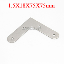50PCS 304 Stainless Steel Flat Angle Corner Braces L Shape Furniture Connecting Fittings Frame Board Support Brackets 18X75X75mm 10pcs 42 23mm furniture metal corners angle bracket l shape colored plating frame board support furniture fittings k266