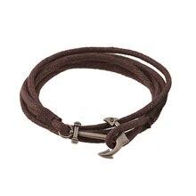 Fashion Vintage Handmade Woven Multilayer Leather Bracelets BanglesTrendy Unisex Anchor Bracelets For Women Men Jewelry FS091