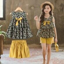 หญิงฤดูร้อนชุดเสื้อผ้าชุดเด็กเสื้อผ้าชุดเสื้อแขนกุดและกางเกงขาสั้นสำหรับเด็กหญิงสบายๆชุดสูท 6 8 10 12 ปี