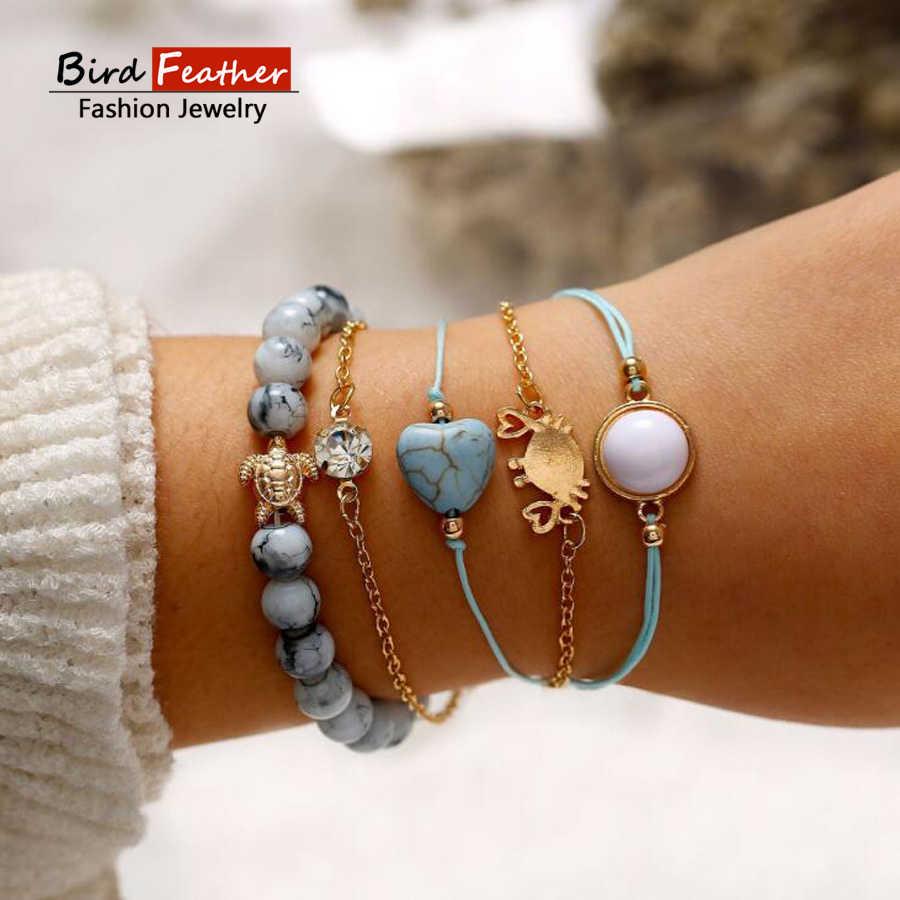 655cff65c7f0 Múltiples tipos de Bohemia de cangrejo de piedra encanto pulseras brazaletes  para las mujeres de moda