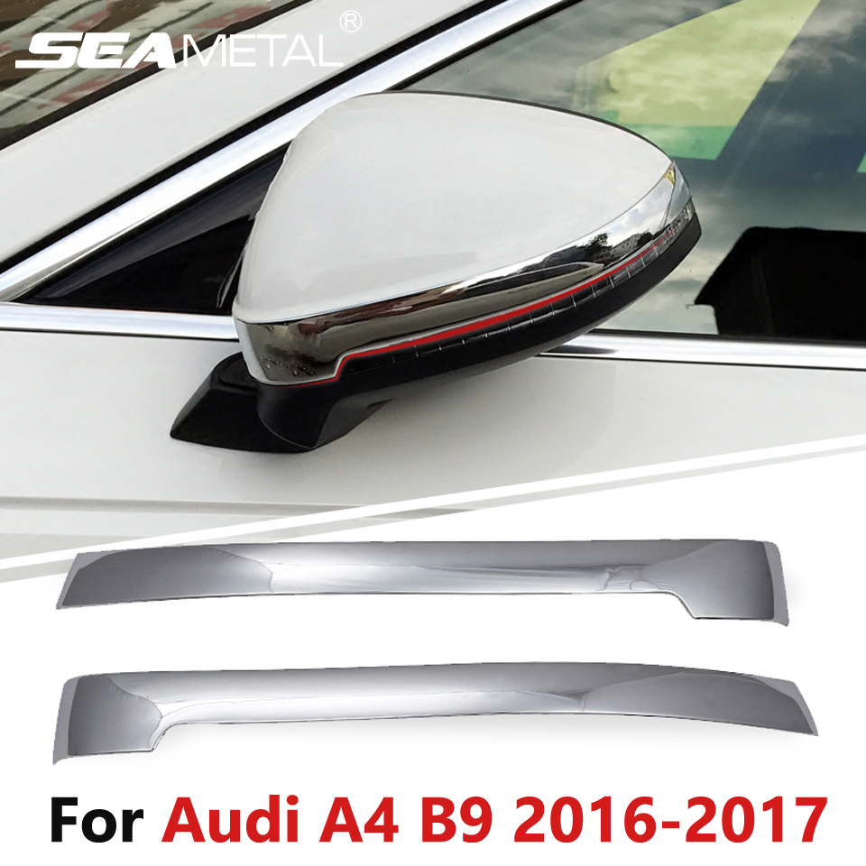For audi a4 b9 sedan saloon 2016 2017 car rearview mirror rubbing strip cover stickers decoration