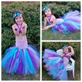 Cartoon Princess Mermaid  Baby Girls Tutu Dress The Little Mermaid Ariels Halloween Party Girls Ball Gown Dresses PT196