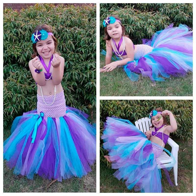 Princesa De Dibujos Animados Mermaid Bebé Niñas Tutú La Sirenita Ariel Halloween Partido Niñas Bola Vestidos Pt196