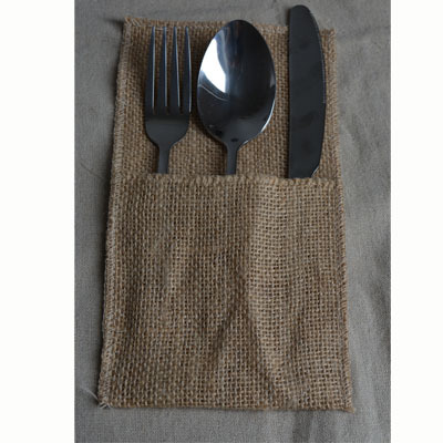 product Hessian Cutlery Gift Bag Rustic Country Wedding Burlap Utensil Holder Knife and fork Pockets Party Tabel Decorations