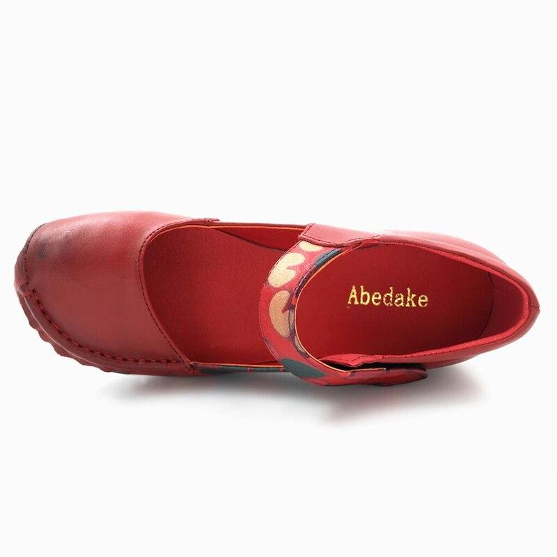 Genuino Marca Zapatos Abedake Ocasionales Primavera Baja Mujeres Solo Red3358 Boca Los Las Oficina Cuero Bombas De RgxgPSq