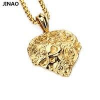 Jinao populaire rose bloemen liefde schedels hiphop ketting hanger hiphop tij product staal mannen en vrouwen