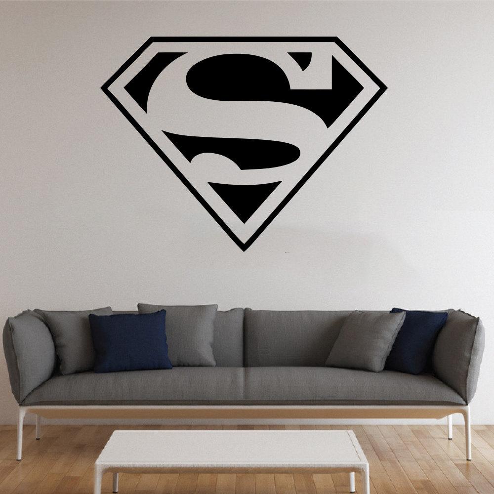 Living room decor superman logo wall sticker interior for Stickers vinilos decorativos