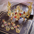 Royal baroque crown queen tiara luxurious rhinestone jewelry hair ornaments prom party wedding with earrings baizhan