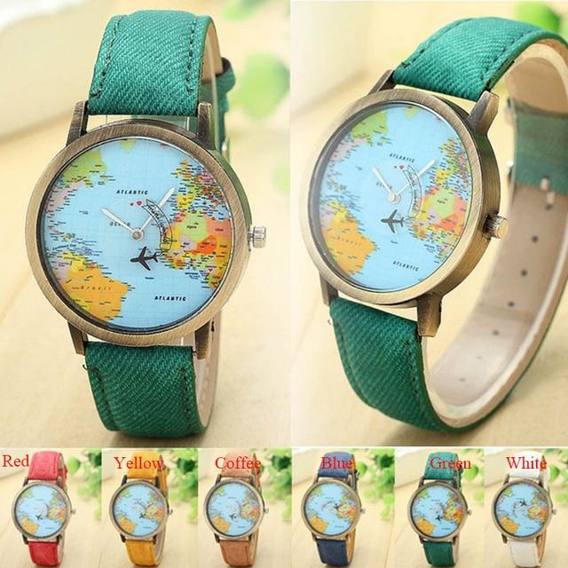 Vintage Watch Women World Map Global Women Dress Watch Denim Fabric Band Relojes