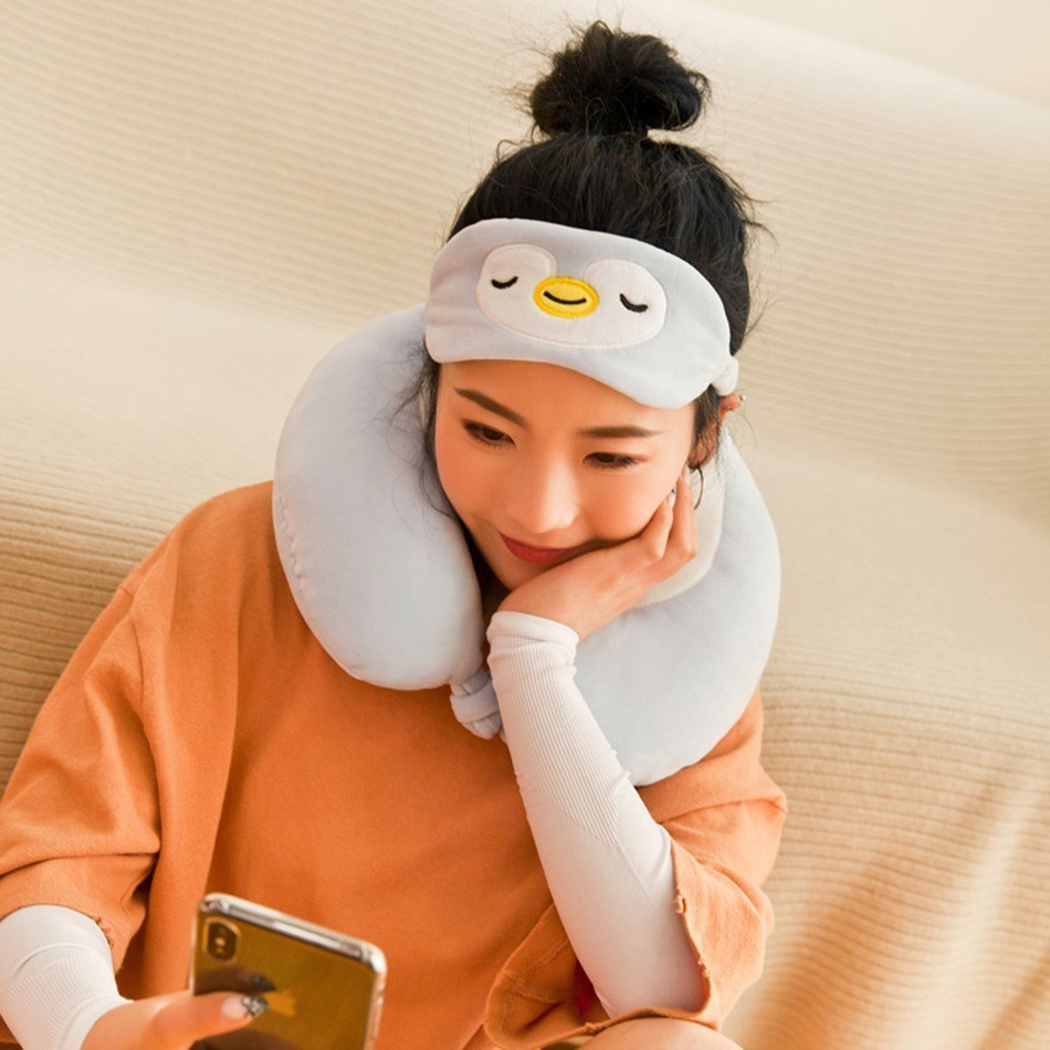 Cute Animal Travel Pillow Cotton School Office Nap Pillow Multifunction Backrest Pillow With Free Eye Mask 1