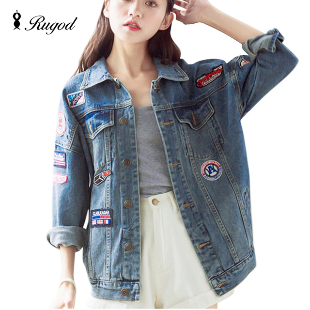 Fashion 2017 Autumn Winter Vintage Women's coat Loose badge patch Denim Jacket Women Autumn Jean Jackets coats for women Outwear