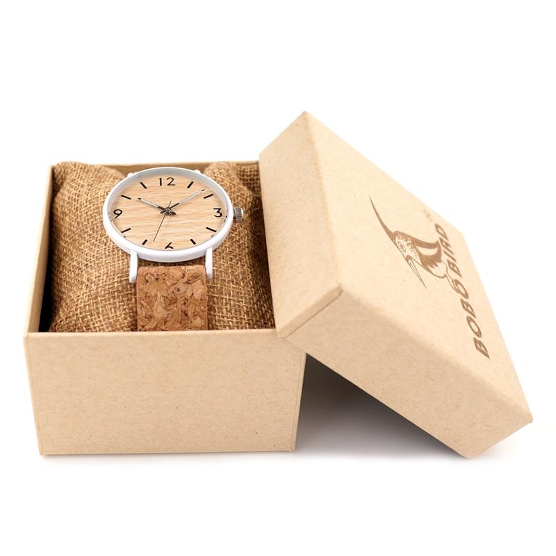 купить 2017 Brand BOBO BIRD Luxury Watch Men Women Wood DIAL Watches Cork Strap Quartz Wristwatches relogio feminino C-E18 дешево