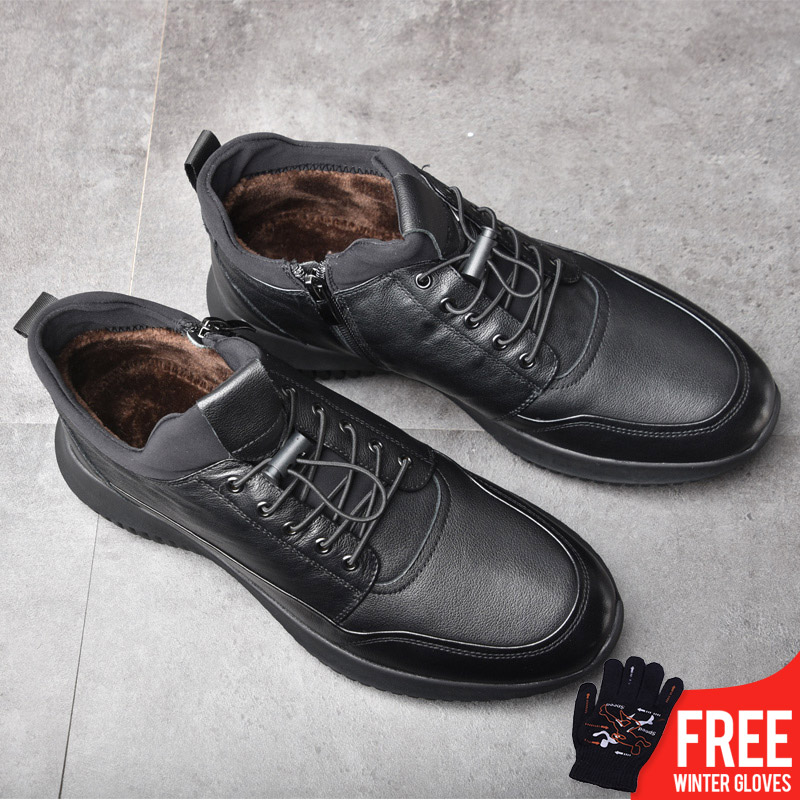 OSCO Brand New Men Shoes Winter Warm Shoes Genuine Leather