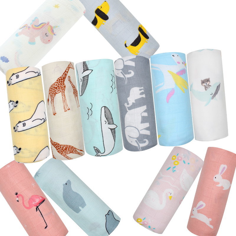 Muslin Selimut Bayi Kapas Bambu Super Lembut Bedongan Bayi untuk Bayi Baru Lahir Yang Indah Membungkus Bayi Mandi Handuk Sprei Stroller Cover