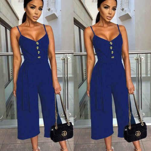2019 nuevo estilo mujeres Sexy cuello en V sin mangas sin tirantes mono mujeres verano Casual ropa suelta negro blanco azul marino S-XL