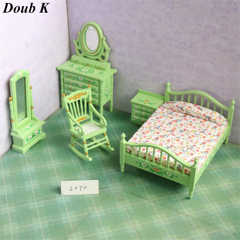 Doub K 1:12 Dollhouse Miniature dolls furniture toy kawaii fashion bedroom set <font><b>bed</b></font> pretend play toys for girls children kids image