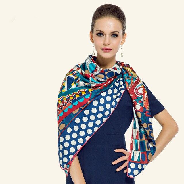 130*130cm Fashion Pashmina 2017 dot women scarf exquisite geometric print silk scarf brand luxury  foulard shawls and scarves