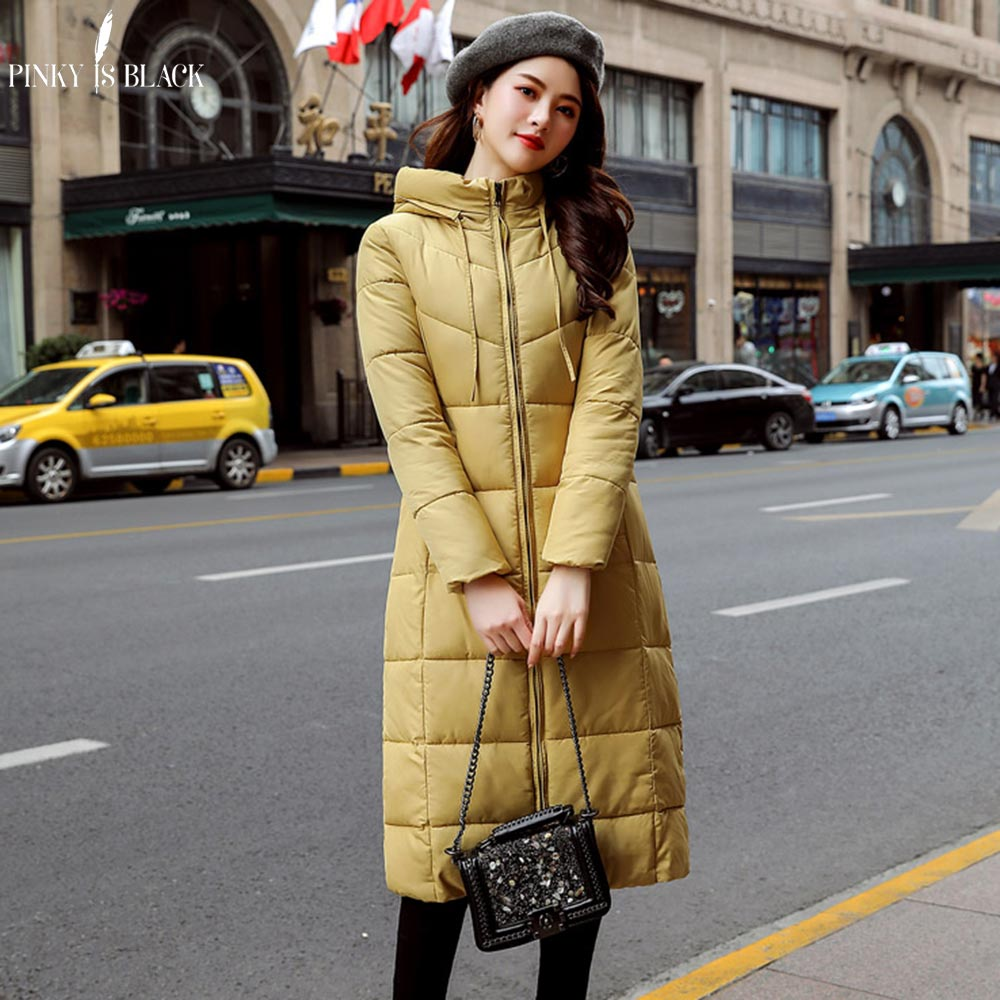 PinkyIsBlack Winter Jacket Women Coat 2019 Candy Color Down Cotton Padded Jacket Long Hooded Thicken Female   Parkas   Plus Size 6XL