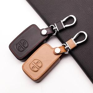 Fob Key Leather Car Key Holder Case Cover for TOYOTA Camry Highlander Crown Prado Land Cruiser Hilux Prius car key cover shell(China)