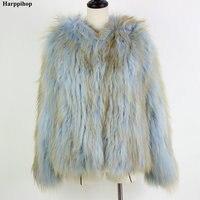 2018 Новинка зимы Модные женские натуральная Лисий Мех вязать теплая куртка светло голубой цвет Куртки свитера с капюшоном пальто * harppihop