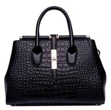 Brand Design Women's handbag Genuine Leather Bag Ladies Black Alligator Female Women Messenger bag Shoulder Tote Crossbody Bag