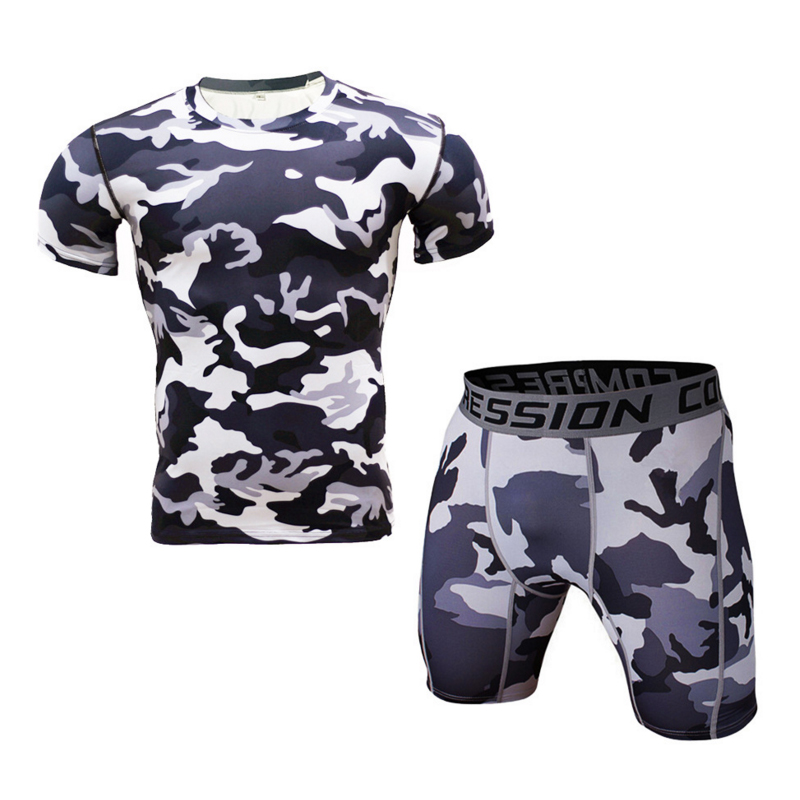 Camouflage T-shirt suits mens short sleeves + shorts tights fitness mens upper clothes sweat and sweat
