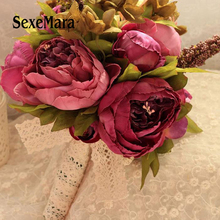 2018 New Bridal Bouquet Wedding Artificial Flowers Bouquet For Bridesmaids Pink Cheap Gros Bouquets De Mariage