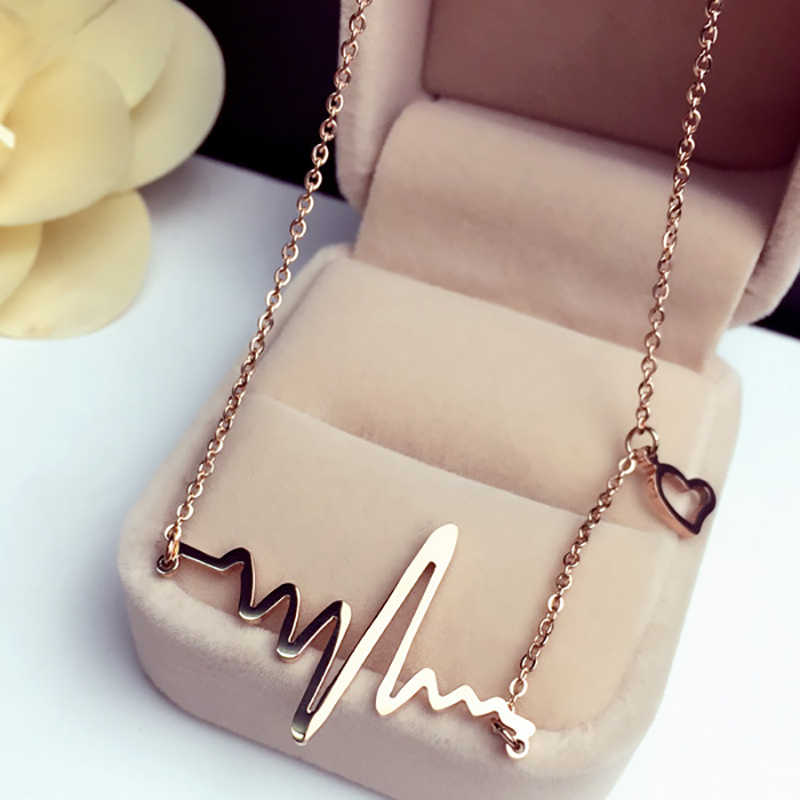 Fashion Heartbeat ECG Pattern Female Necklace Clavicle Choker Chain Rose Gold Necklaces Women Jewelry Accessories Gifts FSPXL240