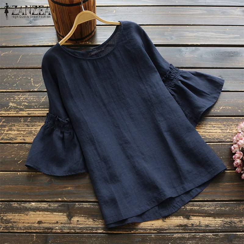 2019 ZANZEA Vintage Ruffle Sleeve Tops Summer Women's Blouse Casual Linen Tunic Female O Neck Blusas Mujer Shirt Plus Size S-5XL