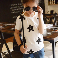 Kids Girl T-shirt Girl Top Summer 2017 Star Printed T shirts Short Sleeves T-shirt for Girls Tee Shirts Cotton Girls Clothes T