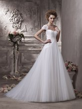 $10 off per $100 order 16-5 Sexy Fashon High Collor Cap Sleeeve Zipper Tulle Ruffle Wedding Dresses