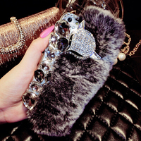 Luxury 3D Fox Rhinestone Gem Rabbit Hair Case For Samsung Galaxy S3 I9300 Case Top Quality