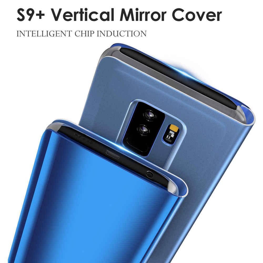 مرآة جلد الوجه حقيبة لهاتف سامسونج غالاكسي Note9 8 S6 S7 حافة S9 S8 زائد J5 7 2017 A3 A7 A5 2017 رؤية واضحة نافذة غطاء ذكي