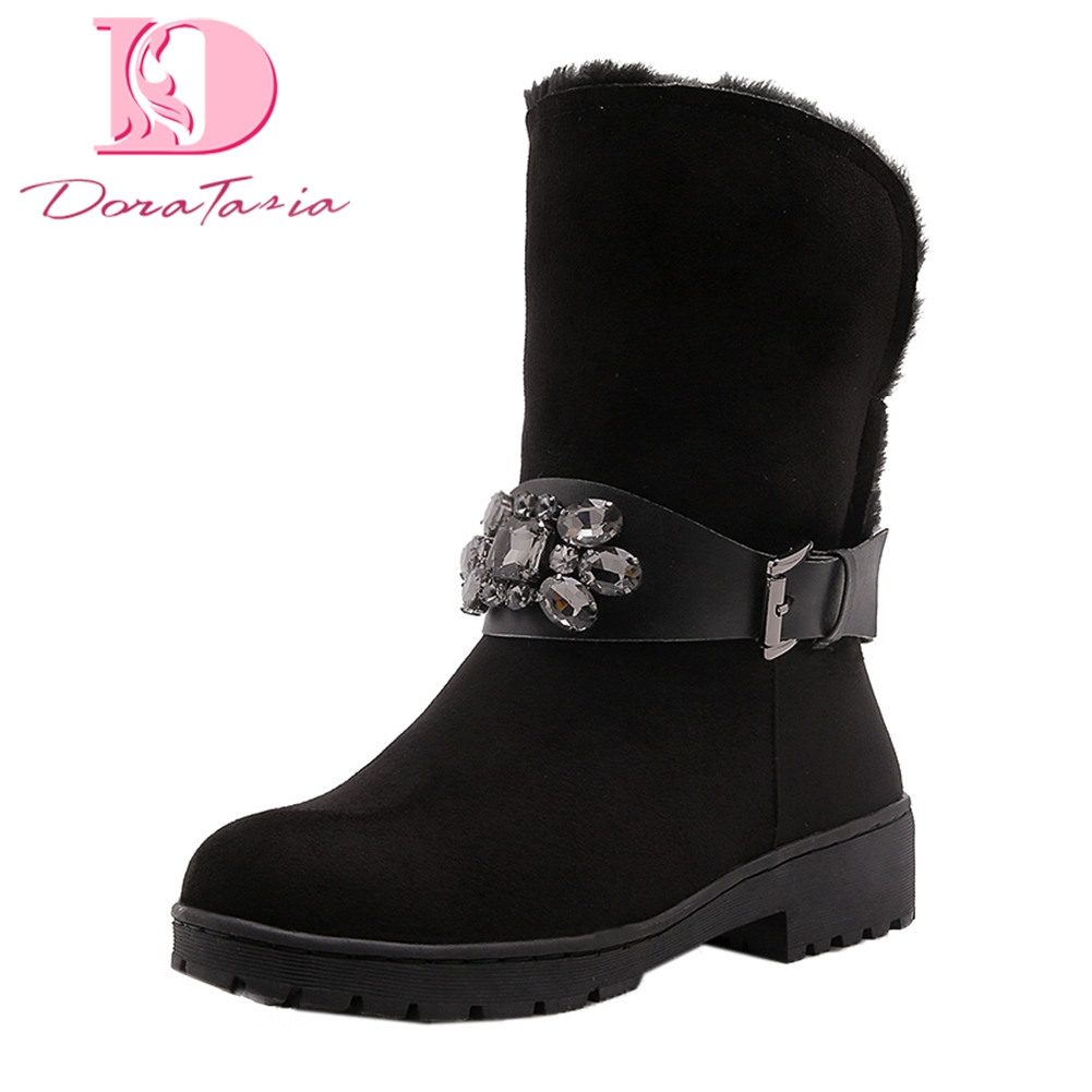 Doratasia Brand new Large Size 33-43 Dropship Warm Plush Winter Boots Woman Shoes Slip On Mid Calf Boots Female snow boots стоимость