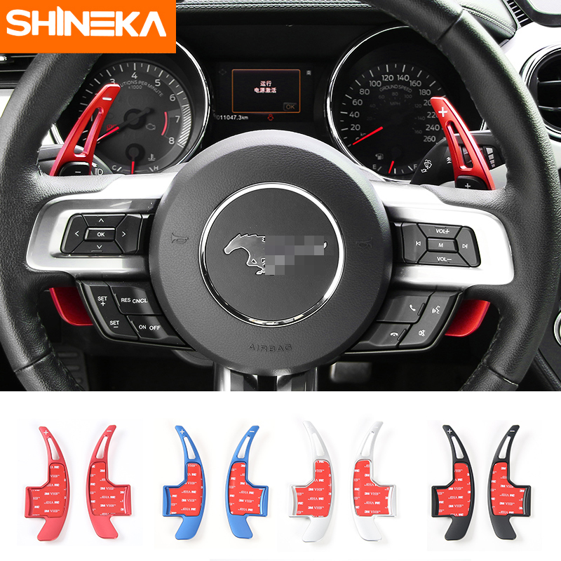 SHINEKA Car Styling Aluminum Alloy Paddle Shifters Gear Shift Cover Trim for Ford Mustang 2015+