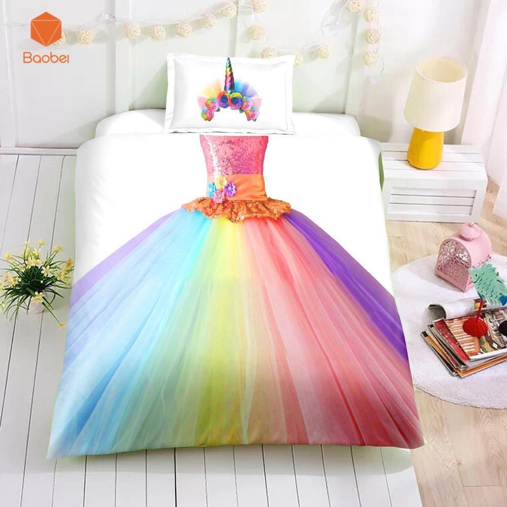 3D Printed Sugar Princess Dress Beddingt Set Pillowcas Duvet Cover For Kids 2pcs Bedclothes Quilt Cover Fashion HomeTextileSj234