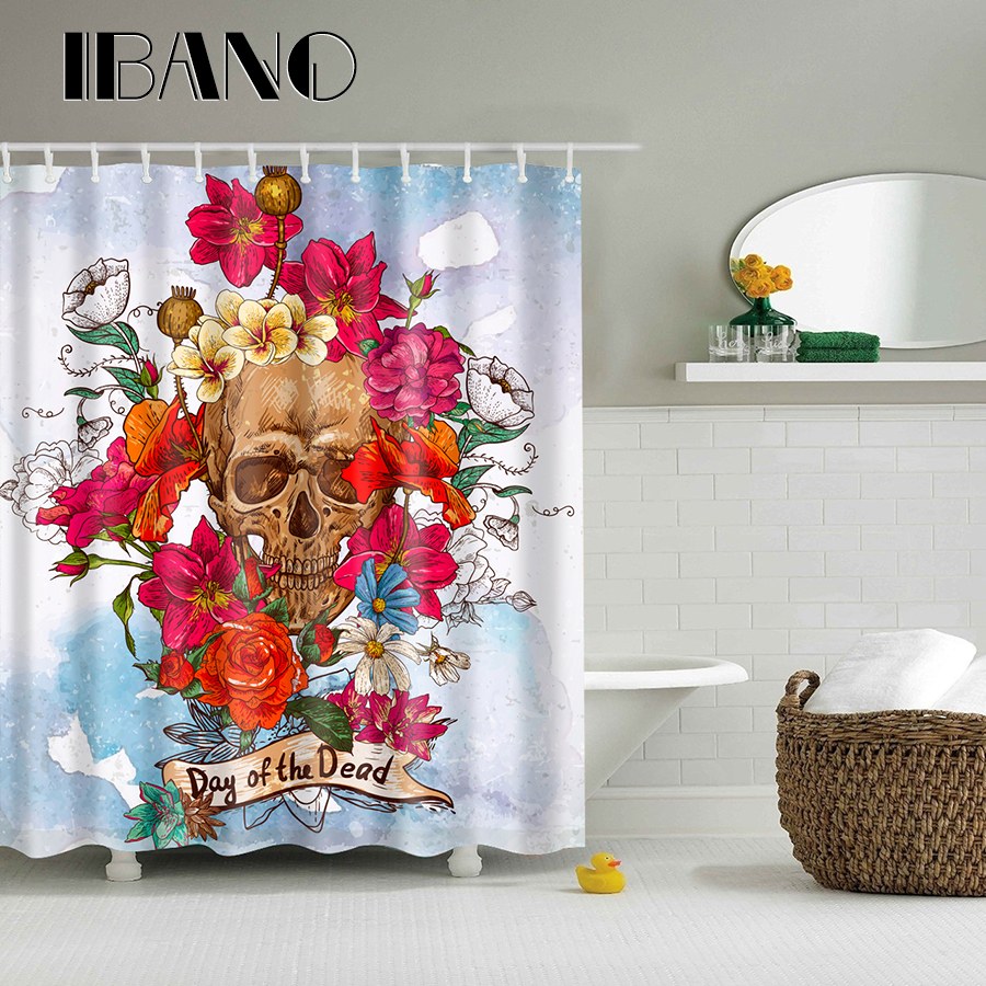 Flowers Skull Head Pattern Shower Curtain Waterproof Polyester Fabric Curtain For The Bathroom With 12PCS Hook Wholesale