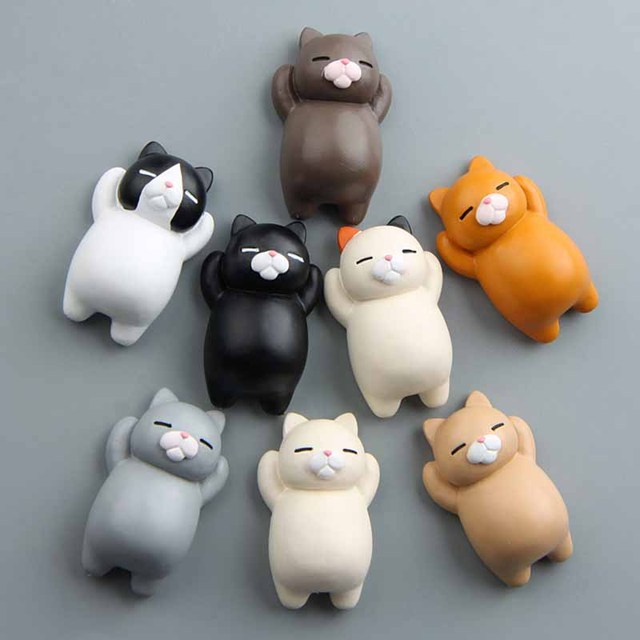 1PC Refrigerator Fat Cat Funny Cartoon Animals Cat Fridge Magnetic Sticker Refrigerator Holder Gift Home Decor Cute Magnets 6