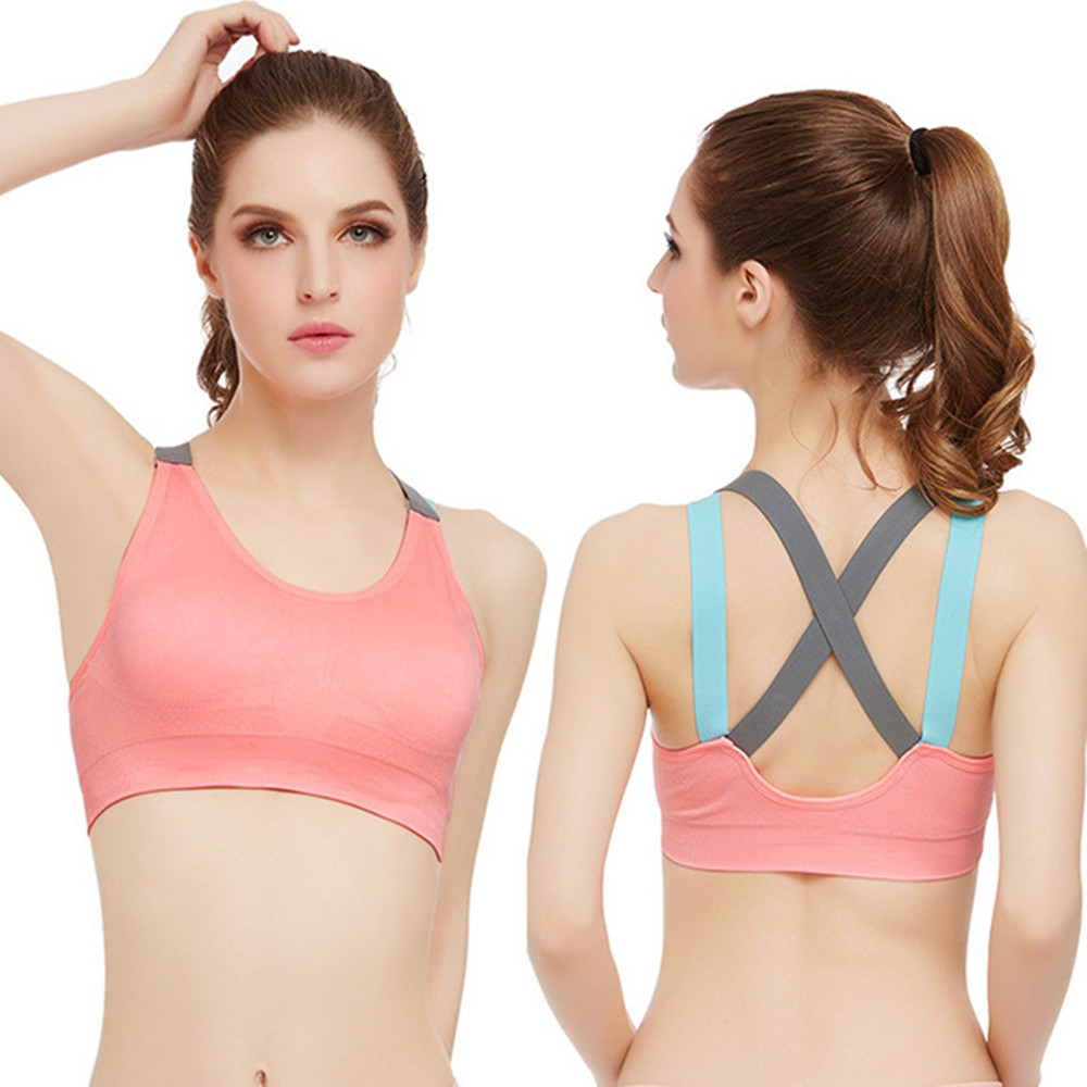 4 Colors Available S-L Yoga Sports Bra Back-Cross Wide Straps Running Fitness Aerobics Sports Underwear girl